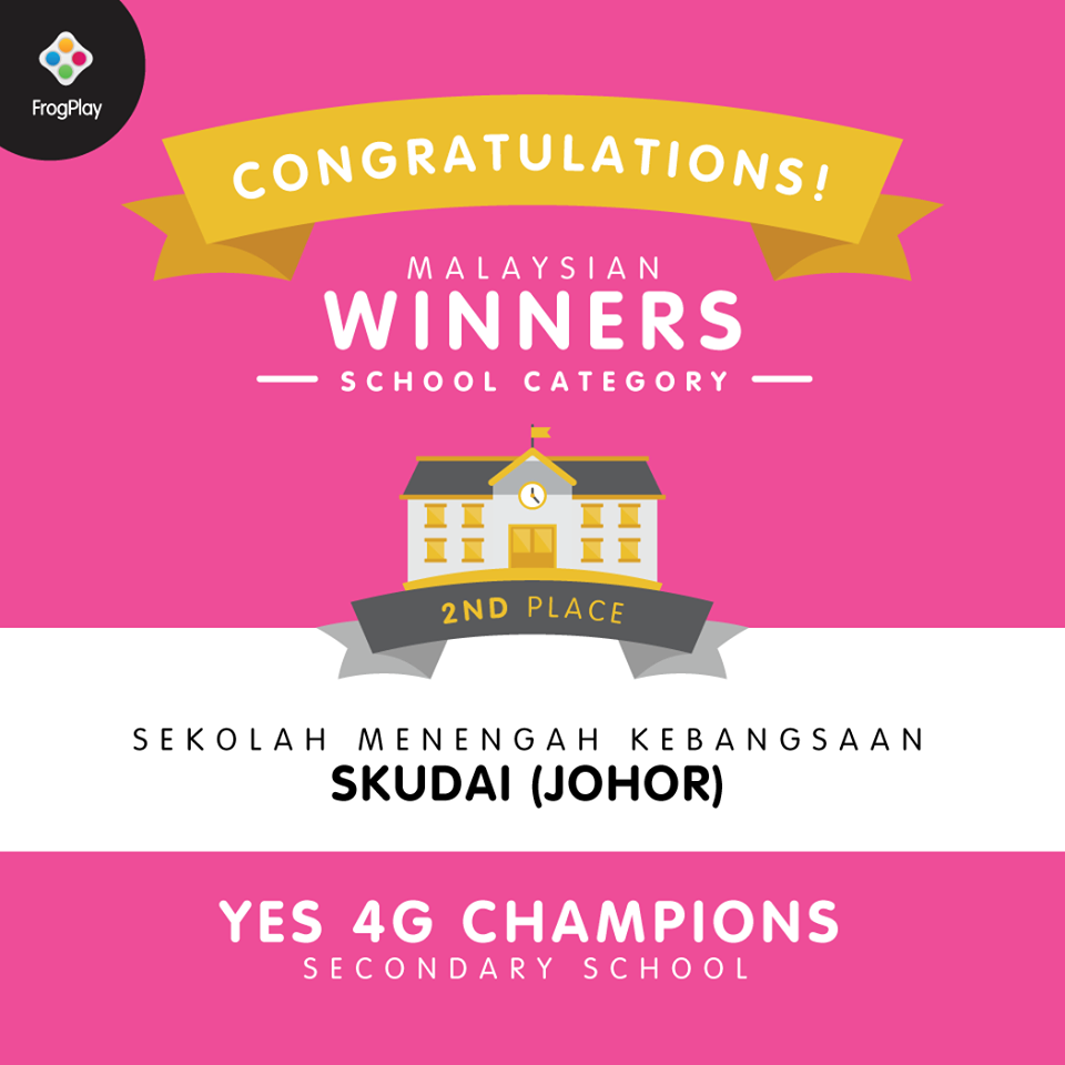 Tahniah SMK Skudai merangkul Tempat Kedua FrogPlay World Championships 2018 (Peringkat Kebangsaan Kategori Sekolah Menengah)