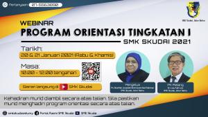 Makluman Webinar Program Orientasi Tingkatan 1 SMK Skudai 2021