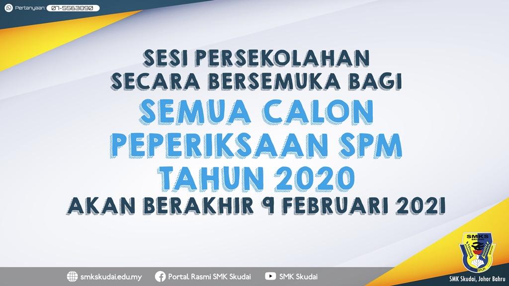 Makluman Pengoperasian Sesi Persekolahan Secara Bersemuka bagi Calon SPM 2020
