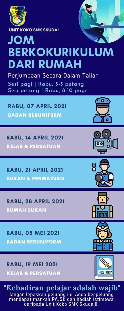Jadual Perjumpaan Unit Kokurikulum Secara Dalam Talian 2021