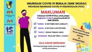 Read more about the article Makluman: Program Imunisasi COVID-19 Remaja (SMK Skudai) – Tingkatan 1, 2 dan 3