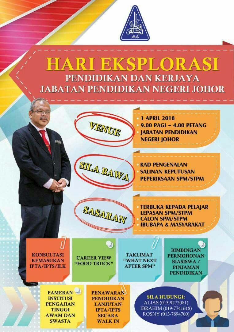 Read more about the article Pemberitahuan : Hari Eksplorasi Pendidikan dan Kerjaya Jabatan Pendidikan Negeri Johor